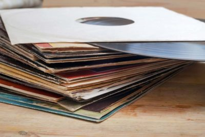 Pile of vinyl record albums