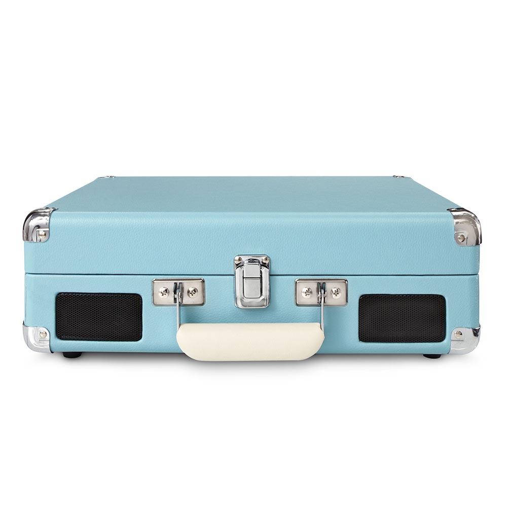Bon Crosley Cruiser Portable Turntable   Turquoise CLOSED CASE FRONT