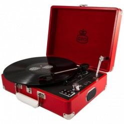 Red GPO Attache Case with Turntable Vinyl Record Player