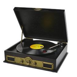 Vintage wood turntable with in built speakers