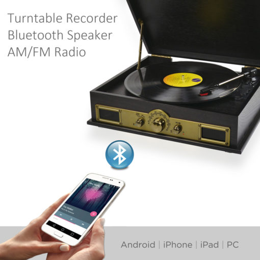 Example of playing phone through record player using blue tooth