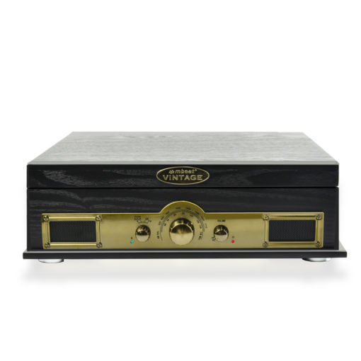Front view of all in one record player in black colour