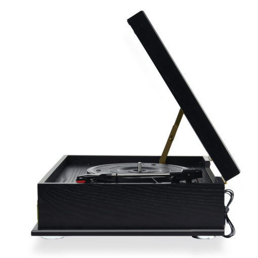 Side view of record player in black colour