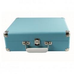 Sky blue attache vinyl record player case front view