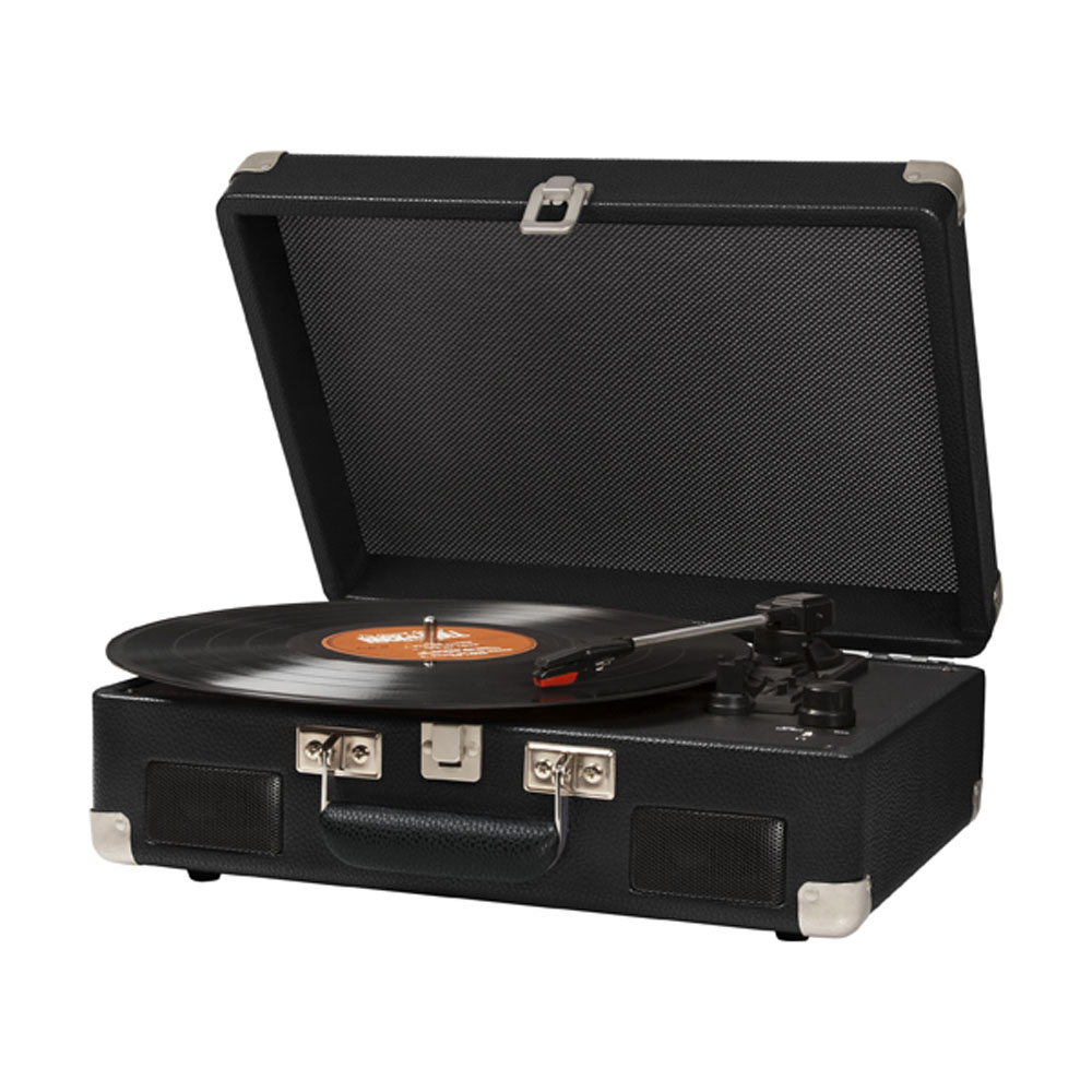 Black Crosley Cruiser Portable Turntable With Battery Pack   Side