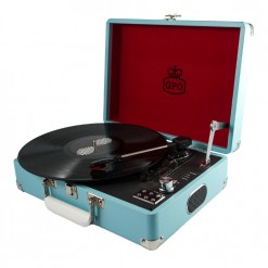 Front view of sky blue GPO attache record player