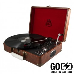 Vintage Brown GPO Attache GO turntable vinyl record player with USB recording and built in battery