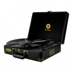 mBeat Woodstock record player black angle view