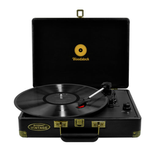 mBeat Woodstock record player black front view with vinyl record