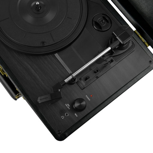 mBeat Woodstock record player black with view of volume and headphone jack