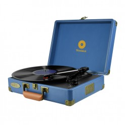 mBeat Woodstock record player blue angled view