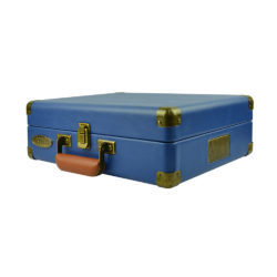 mBeat Woodstock record player blue closed showing briefcase design