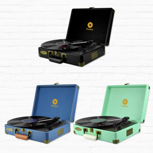 mBeat Woodstock record players shown in black tiffany blue and blue