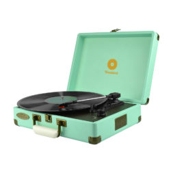 mBeat Woodstock record player tiffany blue angled view