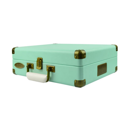 mBeat Woodstock record player tiffany blue closed briefcase view