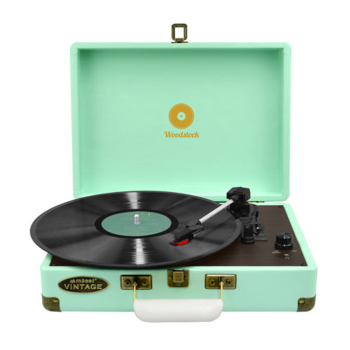 mBeat Woodstock record player tiffany blue front view with vinyl record playing
