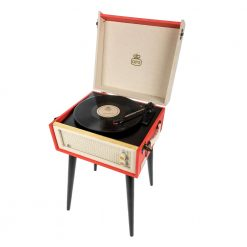 1960s style turntable on a stand in cream and red