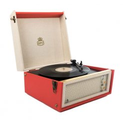 Retro style turntable with red and cream colours