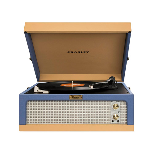 Dansette single speaker record player in blue