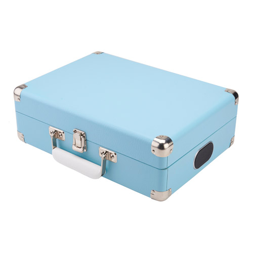 Blue attache briefcase record player with built in speakers