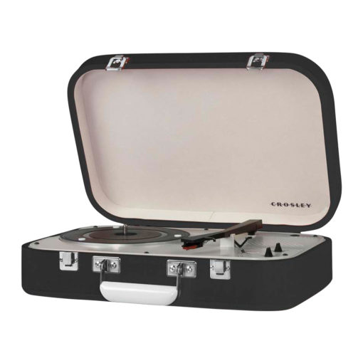 Crosley Coupe Record Player Black CR6026A side view open lid