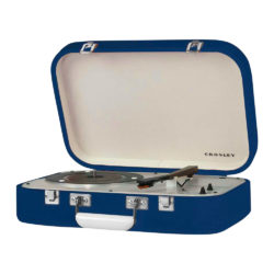 Crosley Coupe Turntable Blue CR6026A side view open lid