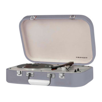 Crosley Coupe Record Player Grey CR6026A side view open lid