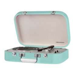 Crosley Coupe Turntable Teal Front View with open Lid
