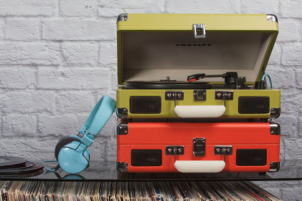Two crosley cruiser turntables stacked