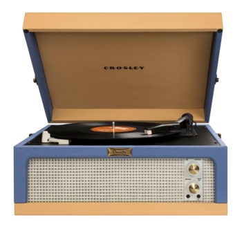 Crosley Dansette Junior Record Player CR6234A Side View with Front Speaker Open Lid with records playing