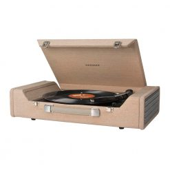 Crosley Nomad Turntable brown Side view open lid with handle