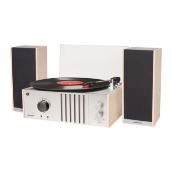 Crosley Player 2 Turntable with Stereo Speakers front view open lid with records playing