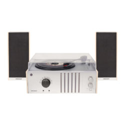 Crosley Player 2 Turntable with Stereo Speakers front view close lid with volume button