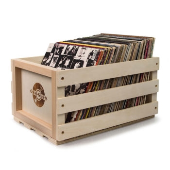 Crosley Vinyle Record Storage Crate side view with records inside