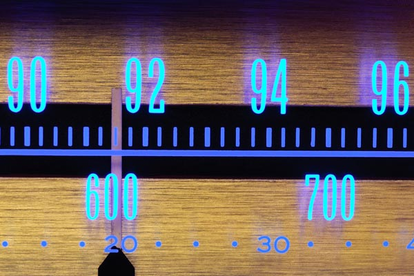 Radio dial showing frequencies