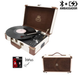 GPO Ambassador turntable bundle with cream and brown record player and westwood speaker in cream with needles