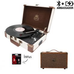 GPO ambassador turntable bundle with cream and brown record player and brown westwood speaker with needles