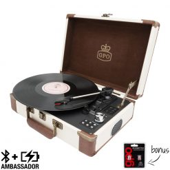 GPO Ambassador Cream Turntable Vinyl Record Player side view open with record playing and needles