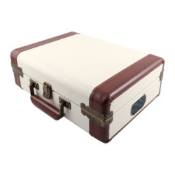 GPO ambassador cream turntable vinyl record player closed suitcase with handle and speakers