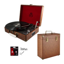 GPO Attache 2 Piece Bundle including vintage brown turntable and brown vinyl record case with stylus