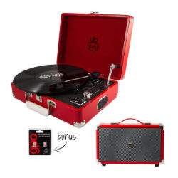 GPO Attache 2 Piece Bundle with Red Attache Record Player and red Speaker and Needles
