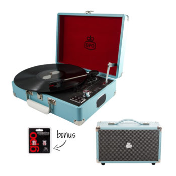GPO attache 2 piece bundle with sky blue turntable and blue westwood speaker and needles