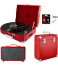 GPO Attache 3 Piece Bundle with Red Attache turntable and red Vinyl red case and red westwood speaker and stylus.