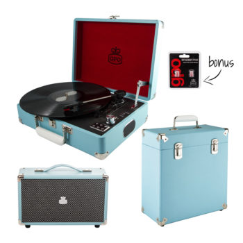 GPO 3 piece bundle with sky blue attache, record case and blue westwood speaker