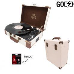 GPO Attache Go 2 Piece Bundle with Cream Attache Go Turntable and Cream Vinyl Case and Stylus