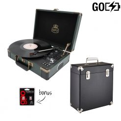 GPO Attache Go 2 Piece Bundle with Dark Green Attache Go RecordPlayer and Black Vinyl Case and Stylus