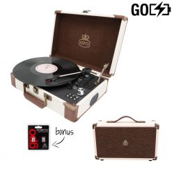 GPO Attache Go 2 Piece Bundle with Cream Attache Go Record Player and Cream Westwood Speaker and Needles