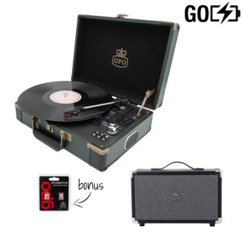 GPO Attache Go 2 Piece Bundle with Dark Green Attache Go Turntable and Black Speaker and Needles