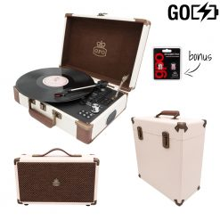 GPO Attache Go 3 Piece Bundle with Cream Attache Go Record Player and Cream Vinyl Case and Cream westwood speaker and Stylus
