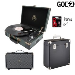 GPO Attache Go 3 Piece Bundle with Dark Green Attache Go Record Player and Black Vinyl Case and Black westwood speaker and Needles